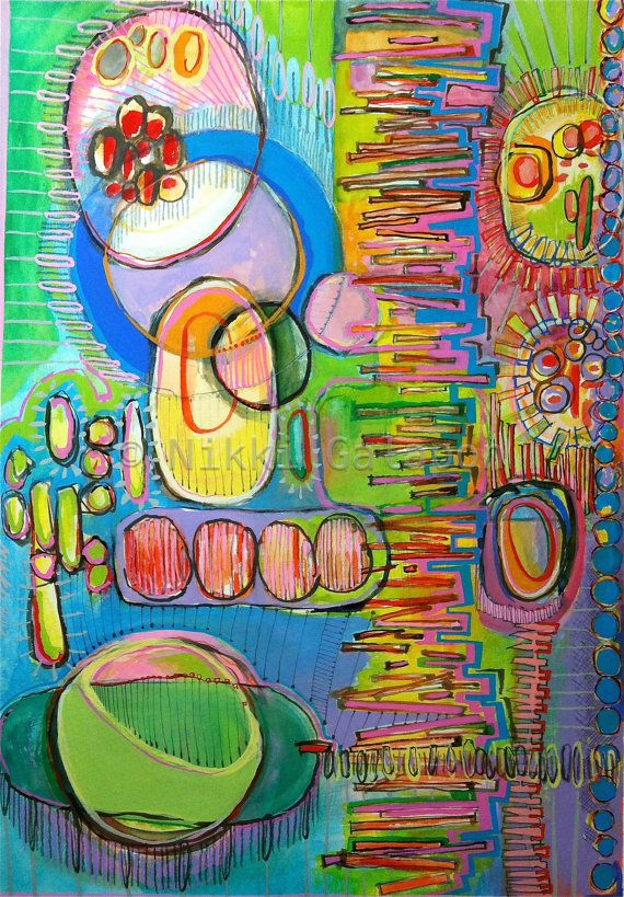 Original Gouache and Graphite Abstract Modern Art by NikkiGalapon, $140.00