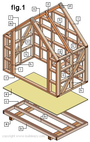 narrow shed wall frame plan and part identification