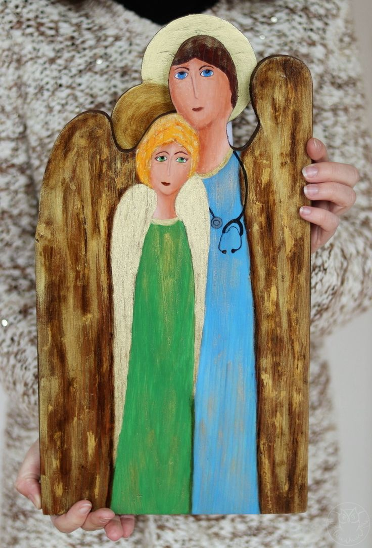Two angels painted on wood, a doctor and a patient, unique gift