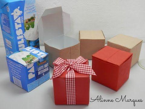 Caixinha reciclada feita com caixa de leite - Artesanato passo a passo - YouTube