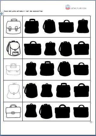 Zoek de juiste schaduw van de boekentas. 3de kl ( Download op 'Jolien in de klas')