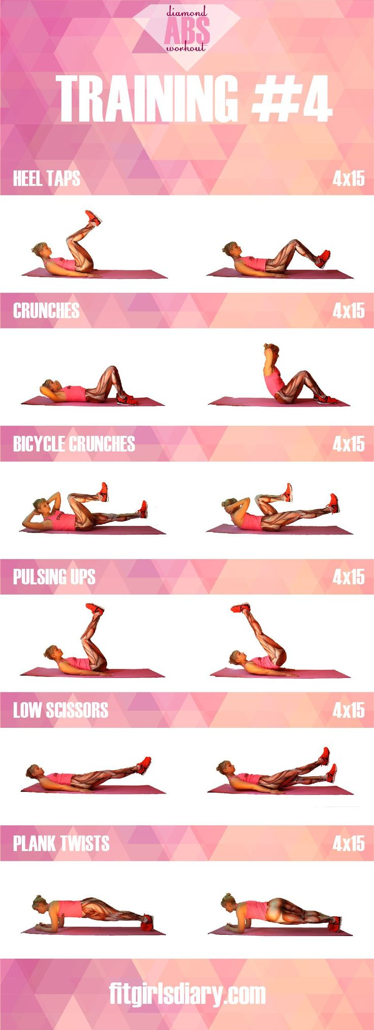 training #4 Diamond Abs Workout - The Best Ab Exercises for Women
