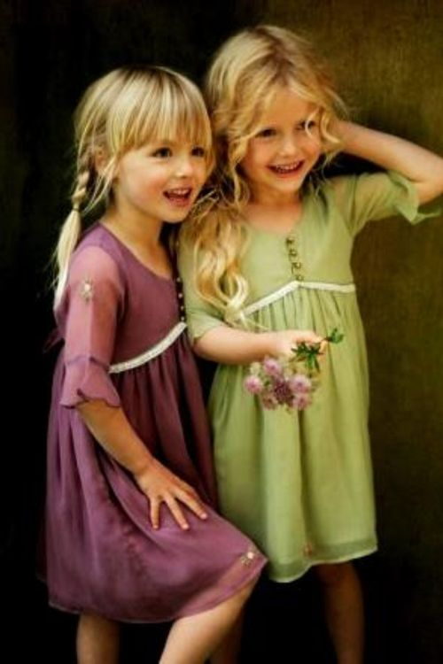 Empire waist girls' garden dresses in moss and plum... 'Twould be lovely May Day frocks! (No source; image serves as seamstress inspiration /guide.)