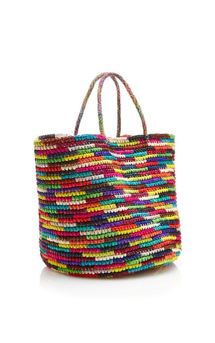 Maxi Straw Tote in Multicolor by Sensi Studio - Moda Operandi