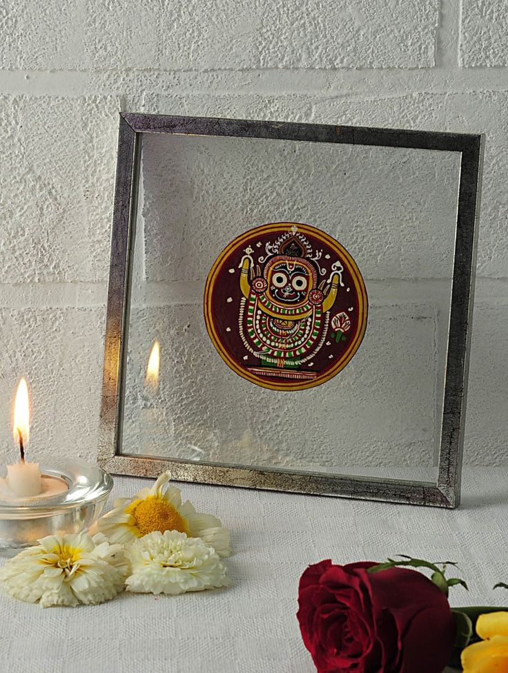 Buy Multicolor Buddha Avatar Framed Ganjifa Card 6.5in x Pattachitra in glass frame Labor of Love Cards Wall Art & Paintings Online at Jaypore.com