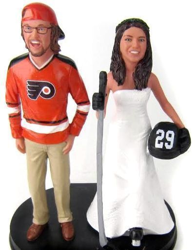 Philadelphia Flyers hockey wedding cake topper custom sculpted to look like the bride and groom with your choice of jersey, number and name!