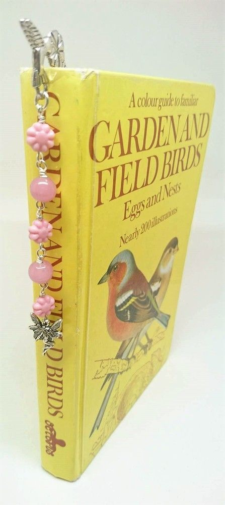 Floral and hummingbird bookmark with pink flower beads and fairy charm £7.50