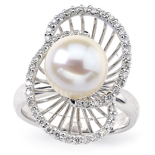 Diamonds for a Cure 14k Gold Freshwater Pearl 1/3ct TDW Diamond Ring