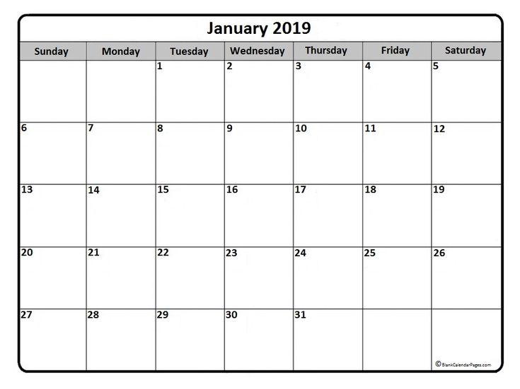 #January #calendar #printable January 2019 monthly calendar printable