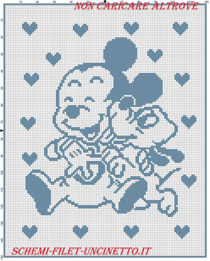 Baby Topolino e Pluto felici schema copertina filet