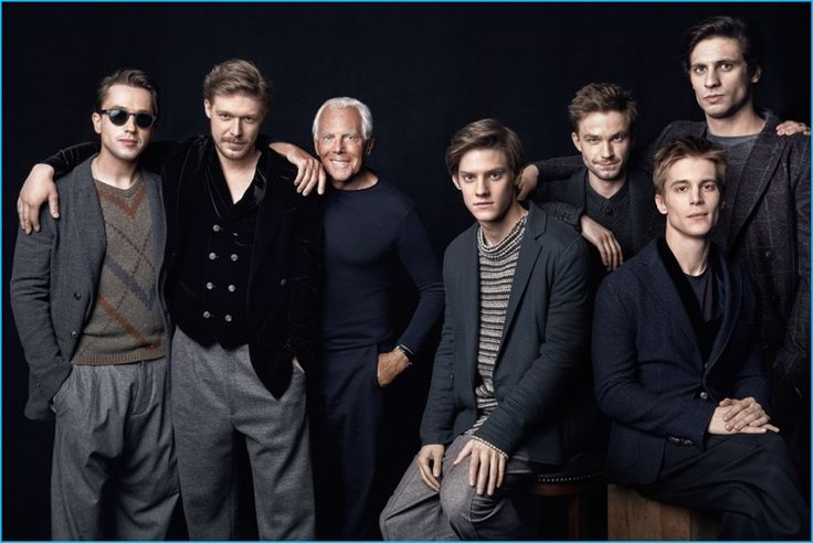 GQ Russia September 2016 Fashion Spread (Pictured Left to Right): Egor Koreshkov, Nikita Efremov, Giorgio Armani, Pavel Tabakov, Alexandr Petrov, Ivan Yankovsky, and Alexandr Molochnikov.