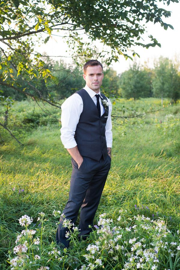 Charcoal Gray Suit - the Vest is Perfect for a Spring Wedding | Still Moments Photography | See More! http://heyweddinglady.com/spring-meadow-wedding-shoot-from-still-moments-photography/