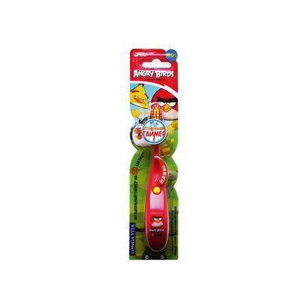 LONGA VITA Детская зубная щётка музыкальная, Angry Birds, LONGA VITA, красный  — 279р.  Детская музыкальная зубная щётка, Angry Birds, LONGA VITA (Лонга Вита), красная.    Характеристика:  • Материал: пластик, нейлон. • Размер упаковки: 23х6х2 см.  • Жесткость: мягкая щетина Tynex DuPont.  • Удобная подставка-присоска. • Эргономичная ручка с выступом для большого пальца.  • Музыкальный таймер на 60 секунд (минимальное время чистки зубов, рекомендованное стоматологами).  • Яркий…