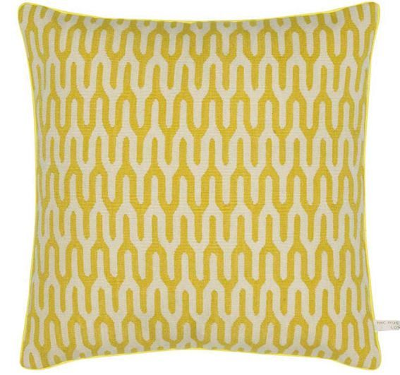 """The Rug Company - Ponti Yellow Cushion - $315 (by Suzanne Sharp. Needlepoint and tapestry pillow. Down filling insert. 17""""x17"""")(above)"""