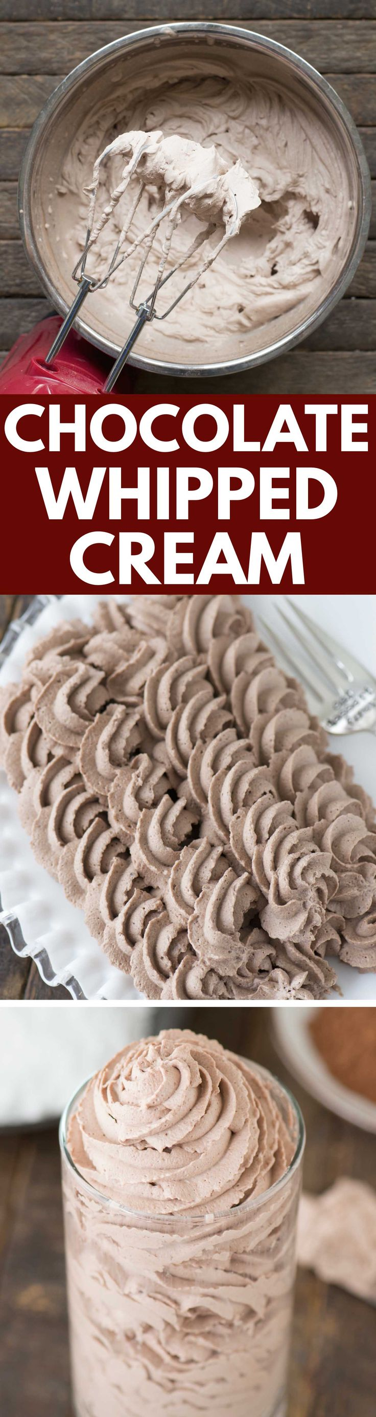Learn how to make the easiest homemade chocolate whipped cream with only 3 ingredients!