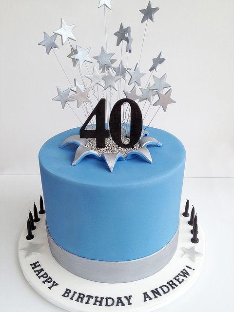 Cake Inspiration - 1 Tier, Round, Starburst, Stars, 40th Birthday