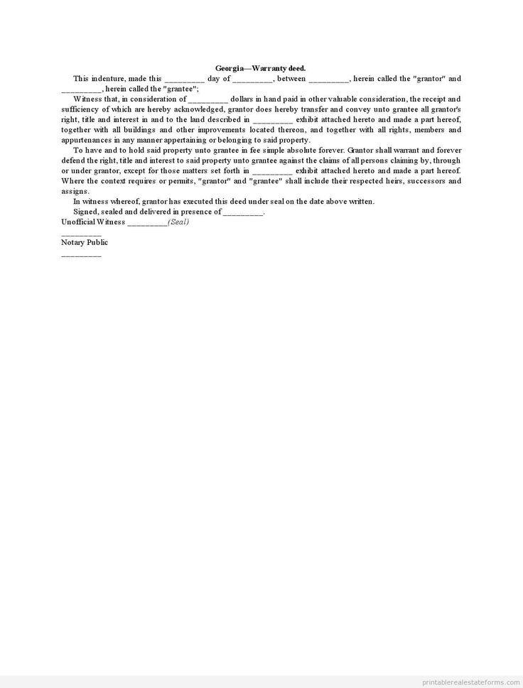 Free printable warranty deed formpdf word