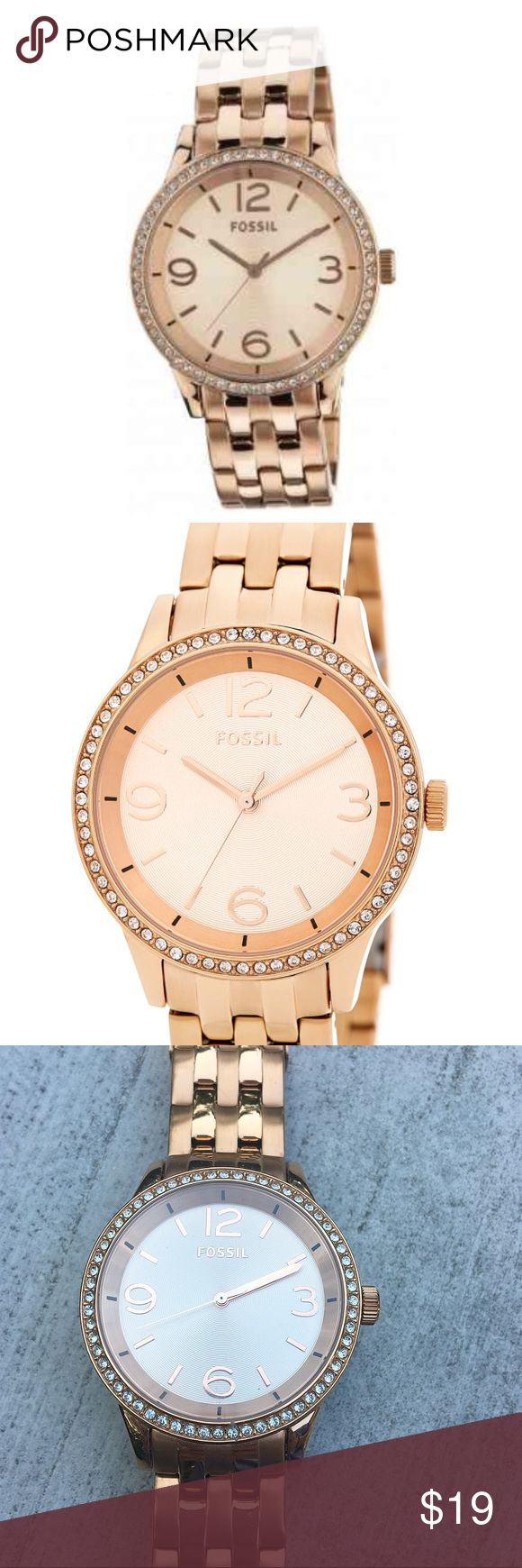 Rose Good Fossil Watch Women's rose gold Fossil watch with link band and swarovsky crystals on bezel. Watch has only been warn once and is in great condition but needs a new battery. Also, the clasp needs to be repaired because it does not close properly. This can be repaired by Fossil if sent to company. Authentic. No trades! Fossil Accessories Watches