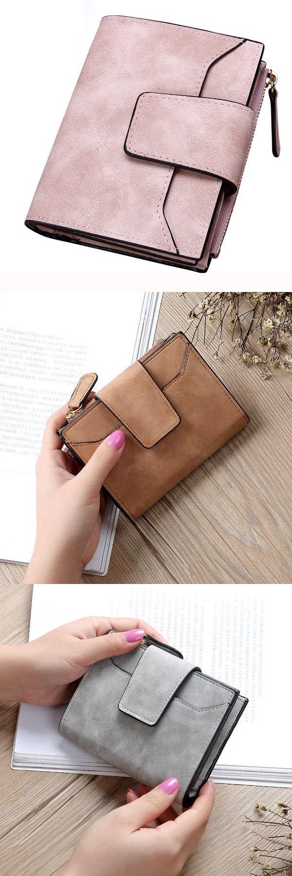 Women Matte Hasp Short Wallets S Two Fold Purse Card Holder Coin Bags Macy 8217