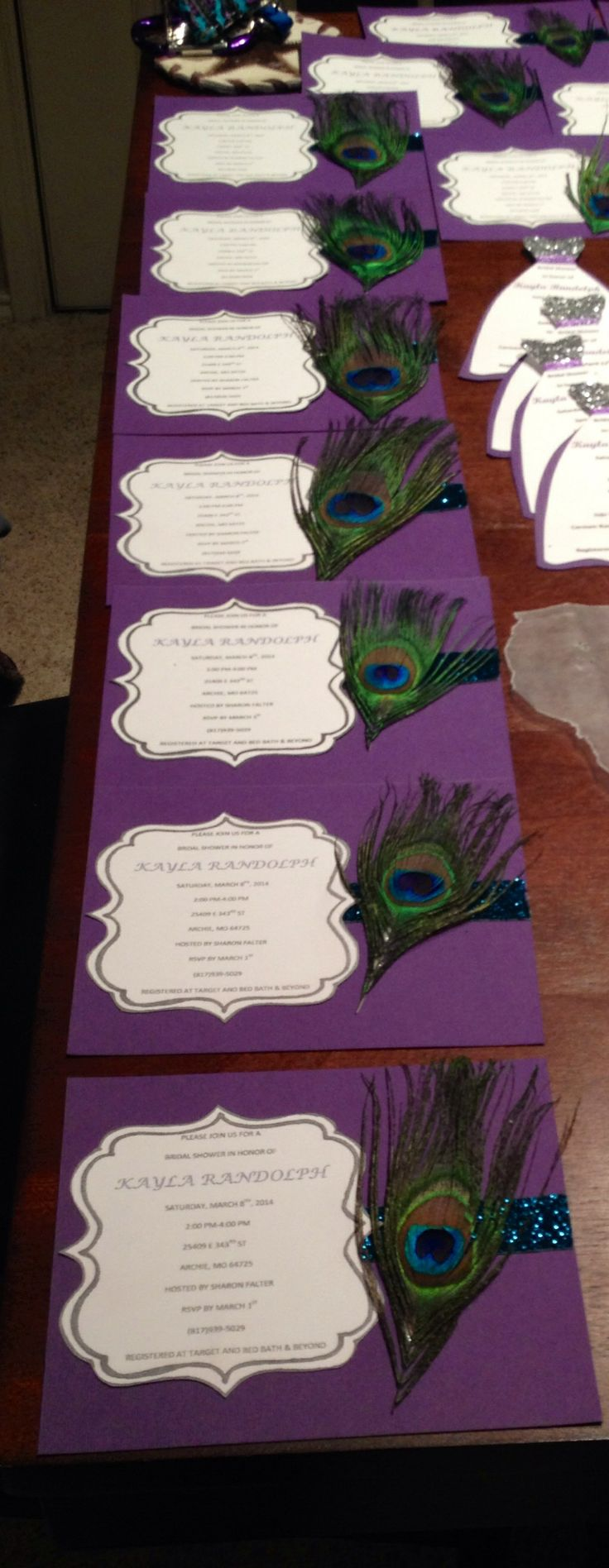 Peacock feather bridal shower invitation 155 best