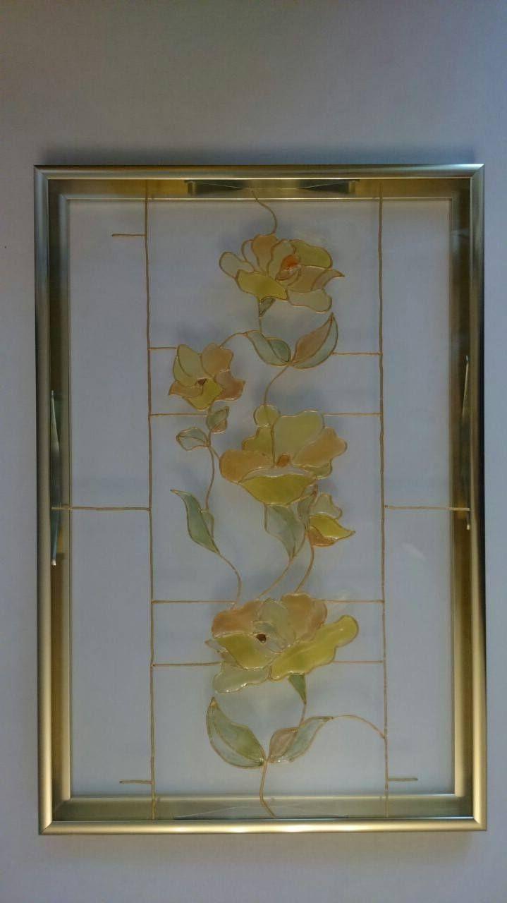 """Витраж """"Золотая ветка""""  Ощущение золотой осени застывшее росписью на стекле...от нашей художницы по витражам.  Завораживает..."""