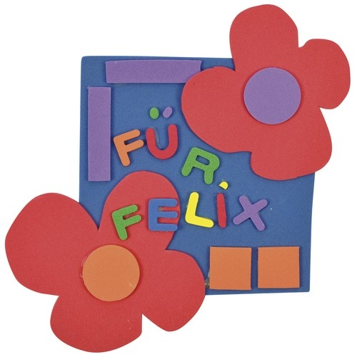 Für Felix! aus Moosgummiplatten http://www.mariposa-toys.de/spielzeug/basteln-malen/dekoration-scrapbooking/eduplay-moosgummi-platten-10er-set-ca-a4-20x30cm/a-2942/
