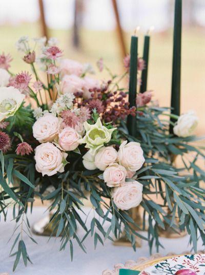 Pretty centerpiece: http://www.stylemepretty.com/virginia-weddings/2015/04/29/bohemian-wedding-inspiration-at-lionheart-resorts/   Photography: Amelia Johnson - http://amelia-johnson.com/