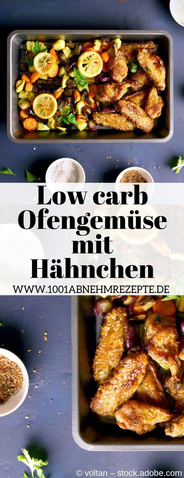 Schnelles Rezept für low carb Abendessen: Ofengemüse mit Hähnchen