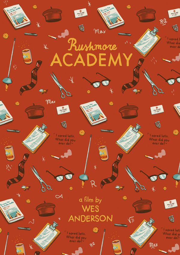 Wes Anderson posters by Andrés Lozano, via Behance