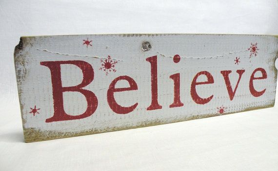 BELIEVE Wooden Christmas Decoration in Red and White with by iPam, $18.00