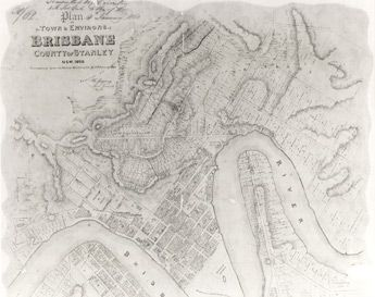 Poster Plan of Brisbane, County of Stanley NSW, 1858 | State Library of Queensland