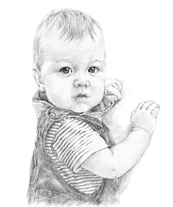 Custom pencil portrait drawing from photo. by professional