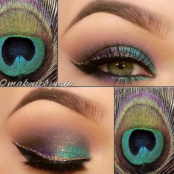 This peacock inspired eye makeup includes shimmering teal and purple eyeshadows and is topped off with gold glitter eyeliner! We'll show you how it's done! #makeup #eyeshadow #eyebrows