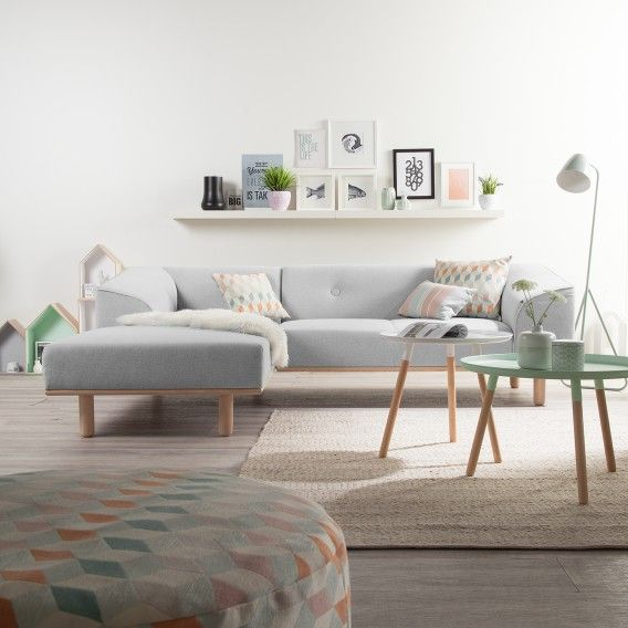 Wohnzimmer Ecksofa Aya in Granit mit Longchair links preiswert online kaufen | Home24