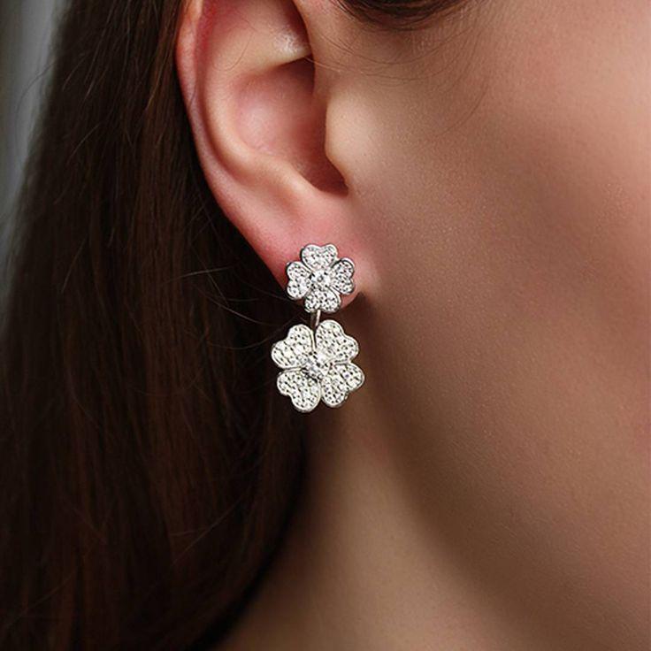 Серебряные двусторонние серьги с цирконием.   #zlato_ua #jewelry #silver #украшения #earring #серьги #zlatoua