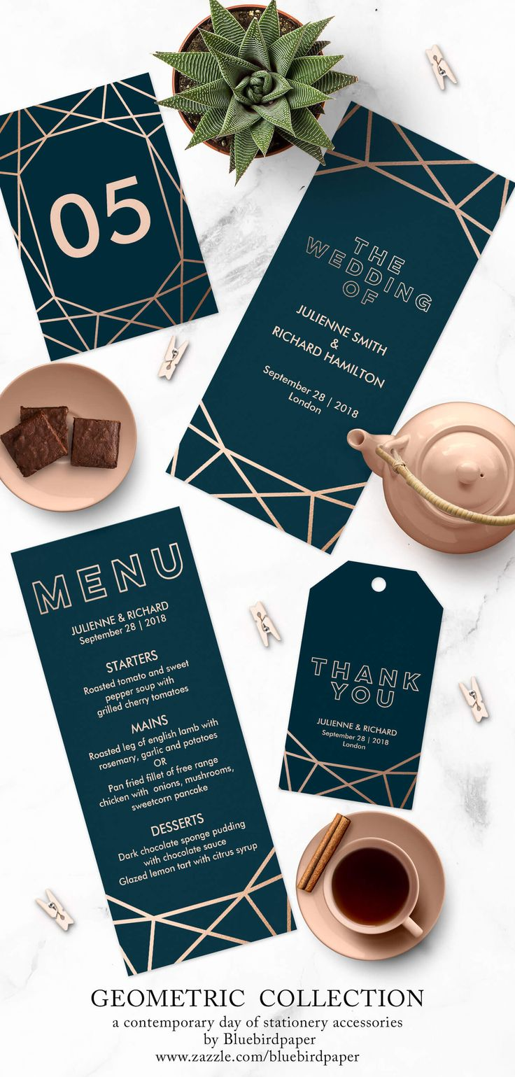 Nice Geometric Collection, A Modern Winter Wedding Stationery, Includes  Accessories As A Wedding Program,