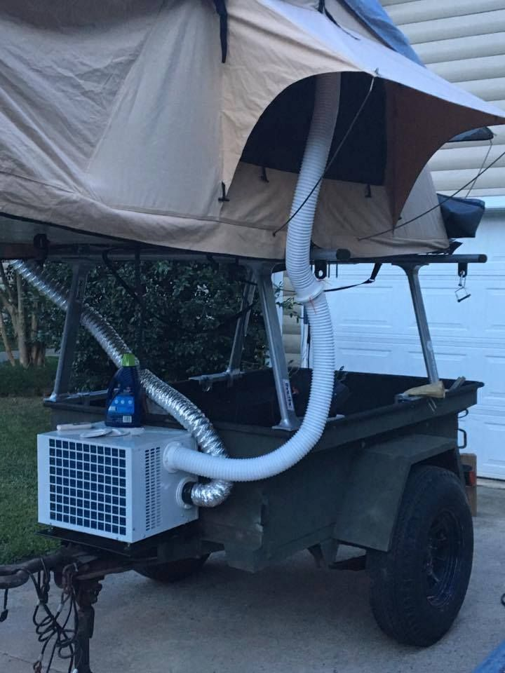 One way to stay warm for Winter Tent Topped Camping is with a small heater. External, non-combustion heaters like this Climate Right unit are one way to go. Downside is they take a lot of juice to run. Photo by Bobby Mantooth