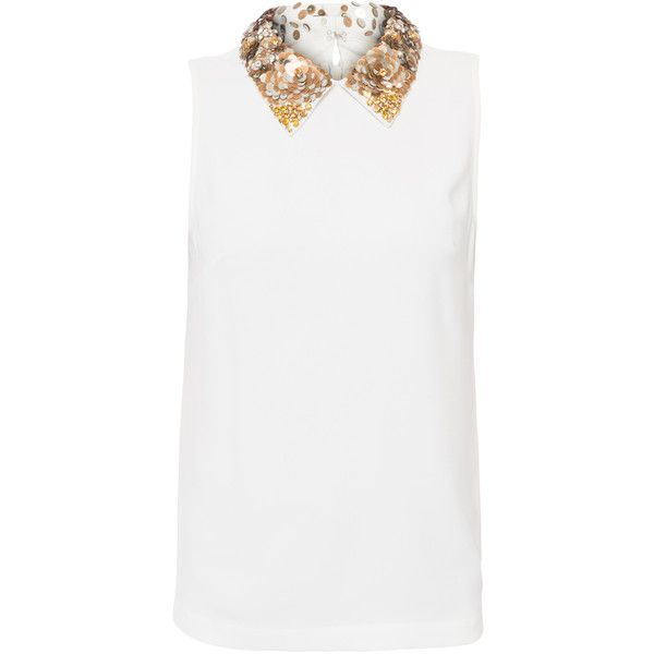 Trina Turk Amaranth White Crepe Blouse With Sequin Collar ($99) ❤ liked on Polyvore featuring tops, blouses, white, white sparkly top, white blouse, sequin collar blouse, white sleeveless top and sparkly blouse