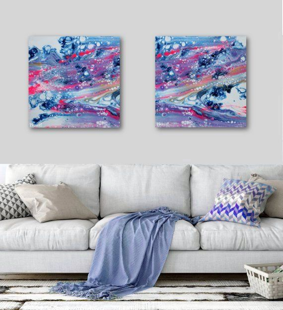2 20x20 Abstract Canvas Prints Boho Wall Art Abstract Print Pour Painting Fluid Art Sunset Pink Purple Art Set O Boho Wall Art Abstract Canvas Purple Art
