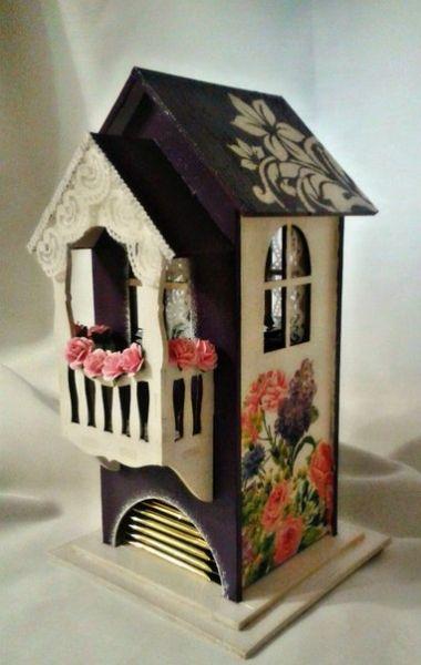 Чайный домик с балконом / Заготовки для декупажа / Чайные домики и шкатулки для чая / Интернет-магазин