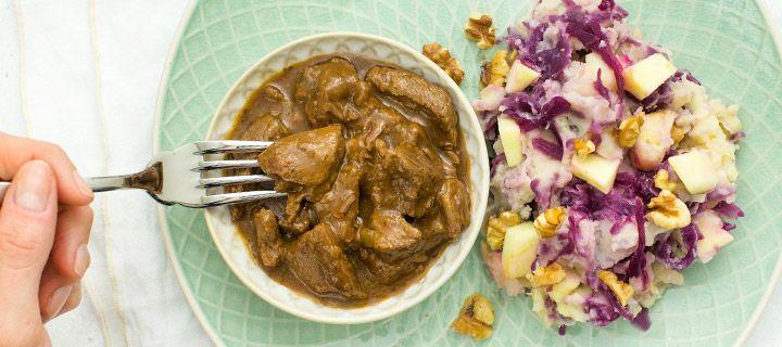 Hachee met rode kool stamppot + 5 tips voor mals stoofvlees - Leuke recepten
