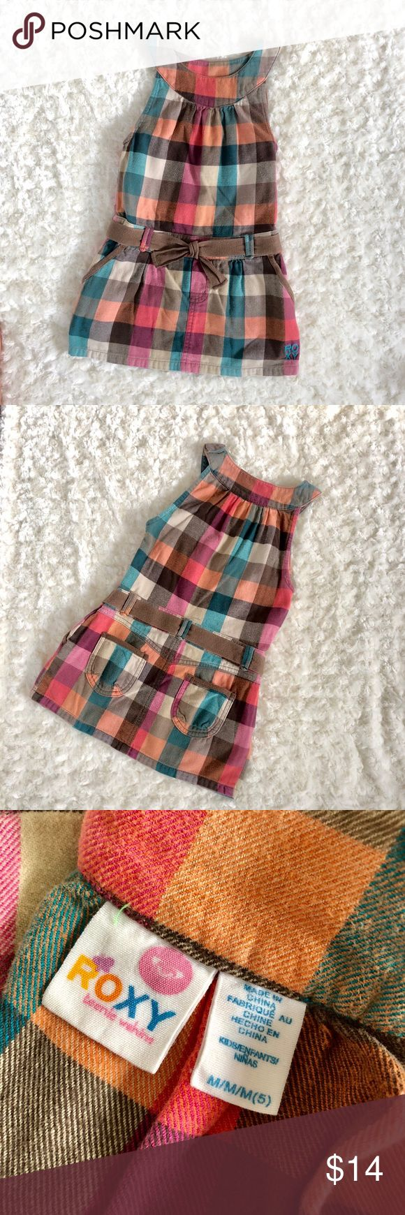 Cute versatile stylish dress Super cute dress. Multi color checkered dress. Lots of details; pockets in the back., zipper on the side for easy wear. Roxy Dresses Casual