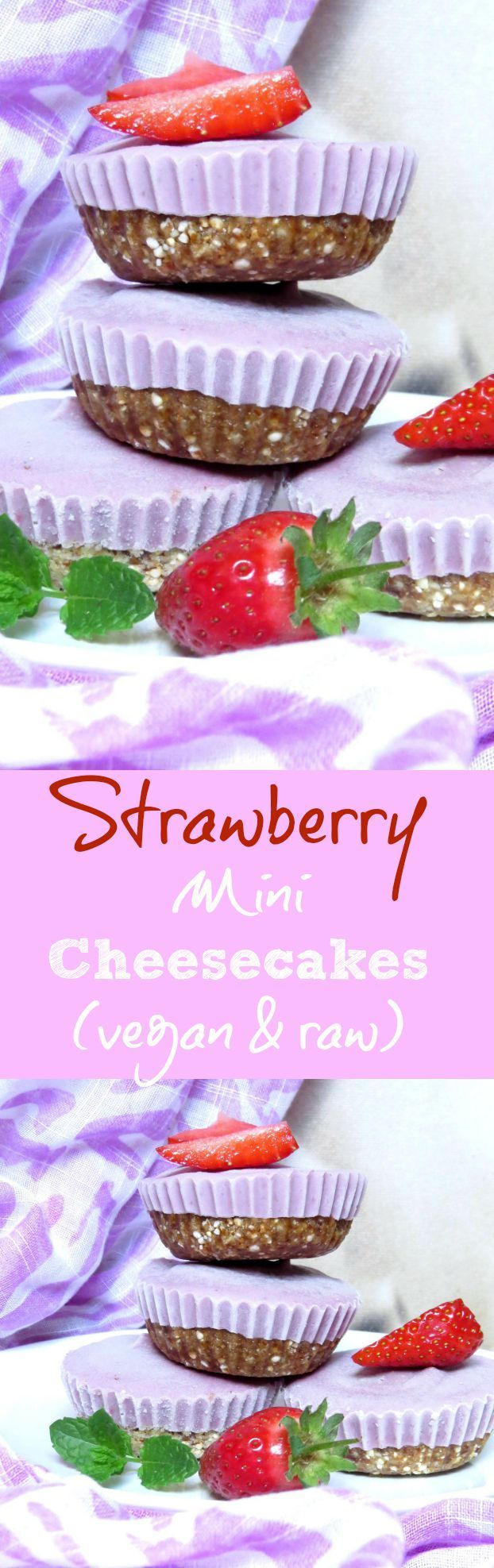 Vegan Strawberry Mini Cheesecakes. Check out veganheaven.org for the recipe. #vegan #cheesecake #rawcheesecake