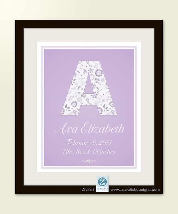 """Personalized Monogram Birth Announcement 11x14"""" Poster - Retro Floral Nursery Wall Art"""