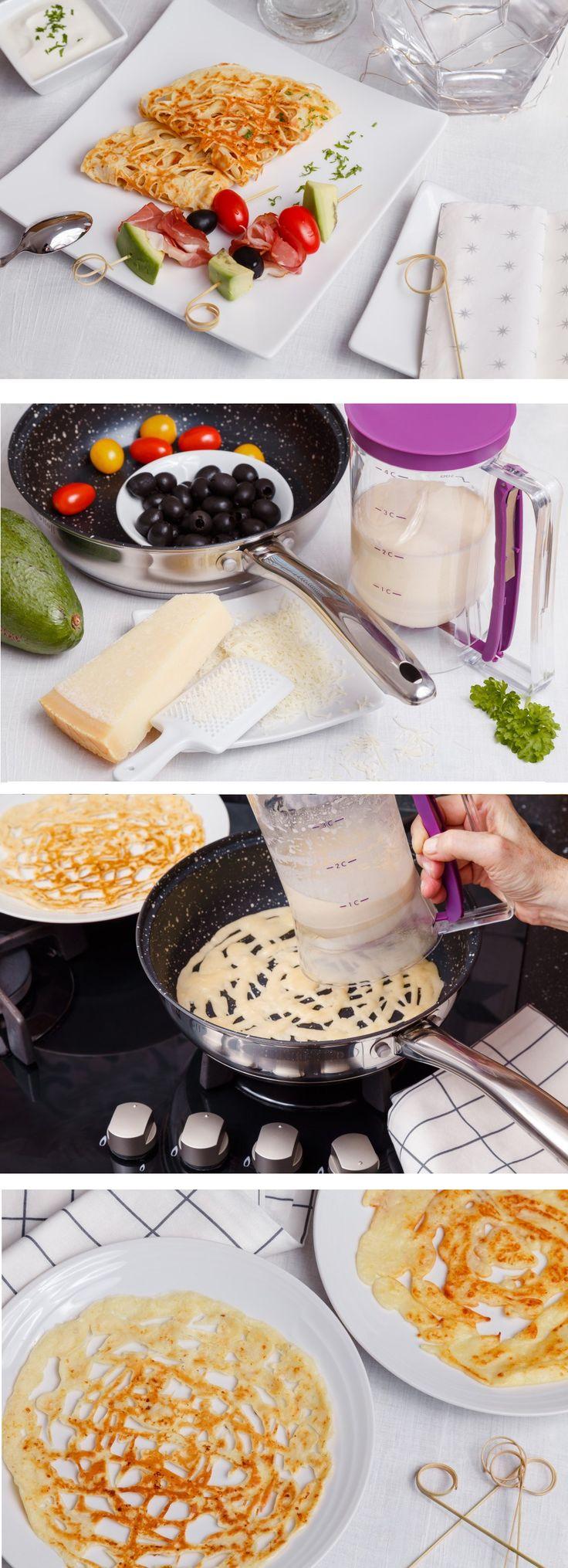 Dávkovač těsta využijete při dávkování porcí těsta na muffiny, lívanečky, čokoládu... my ho vyzkoušeli pro krajkové slané palačinky.