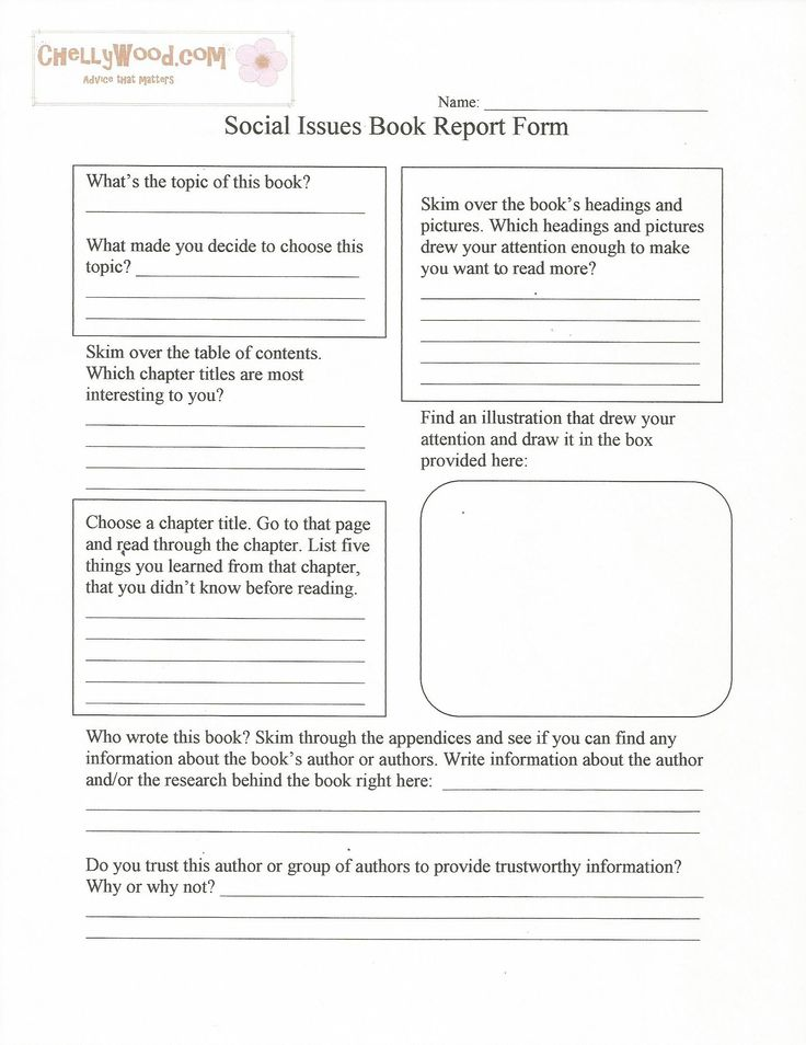 Social Issues Nonfiction Book Report FormFree Printable