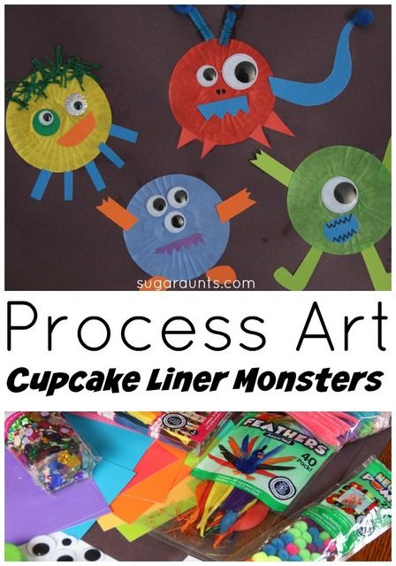 Creativity, language, fine motor skills, sensory and more occurs with process based art! Make cupcake liner monsters with process art.