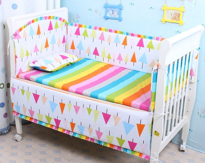 Promotion! 6PCS baby bedding set crib cushion for newborn cot bed sets , include(bumpers+sheet+pillow cover)