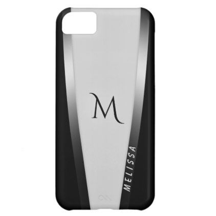 Elegant black white two silver name and monogram cover for iPhone 5C - elegant gifts gift ideas custom presents