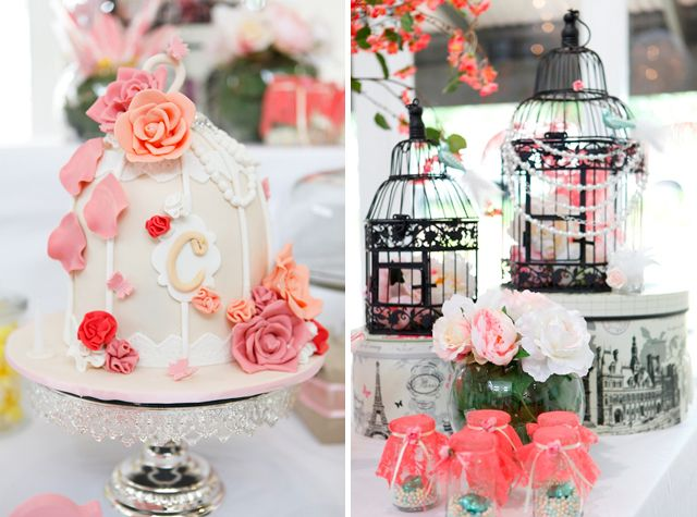Tea party theme..pretty for a little girls cake smash. Love the use of the bird houses